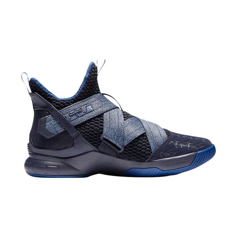 f36bd1be34dd NIKE Lebron Soldier 12 Anchor Sepatu Basket Pria - Black Blue