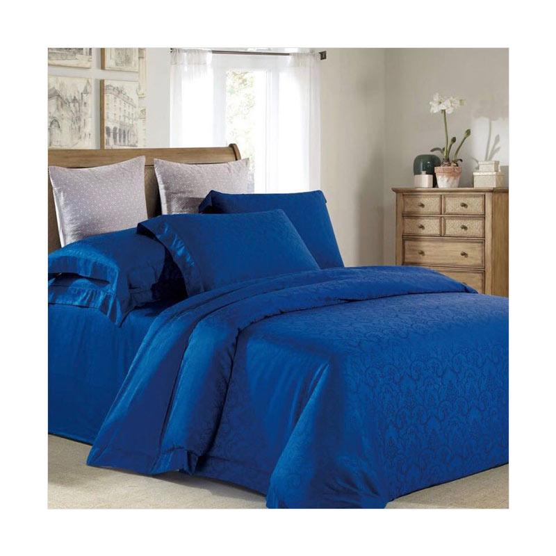 Sleep Buddy Lux Navy Blue Jacquard Tencel Set Sprei dan Bed Cover