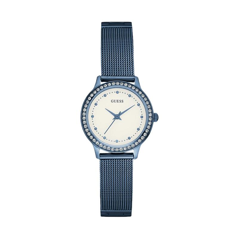 GUESS Women Beige Dial Blue tone Stainless Steel Watch