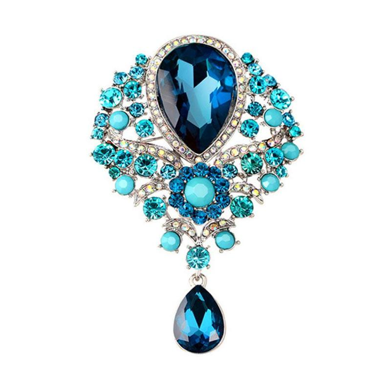 01d3bc3315c Bluelans Wedding Bridal Bouquet Clear Crystal Rhinestone Teardrop Dangle  Brooch Pin - Peacock Blue. Brand: Bluelans