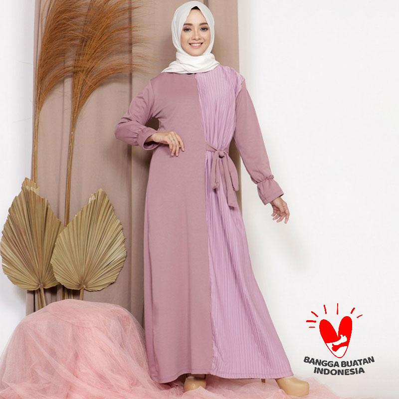 Mybamus Puse Half Plisket Dress Wanita