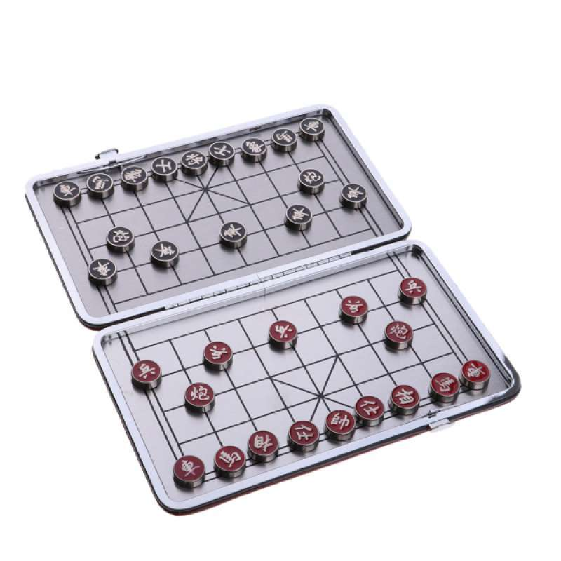 Portable Chinese Chess Set Foldable Box Board Game Chess Pieces Magnetic