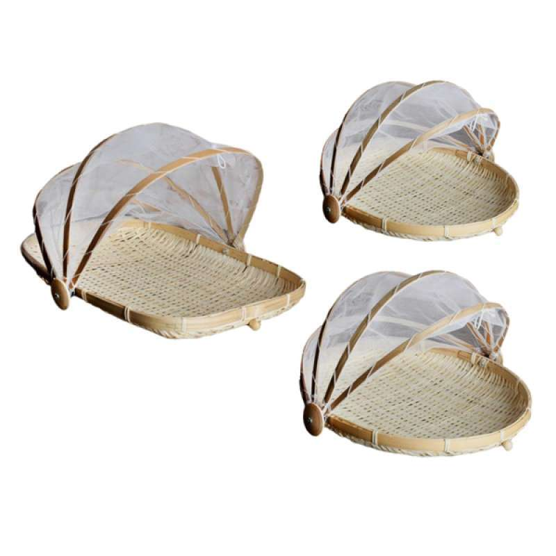Jual 3x Picnic Basket Bamboo Food Tent Outdoor Patio Mesh Food Cover Serving Netting Online Desember 2020 Blibli