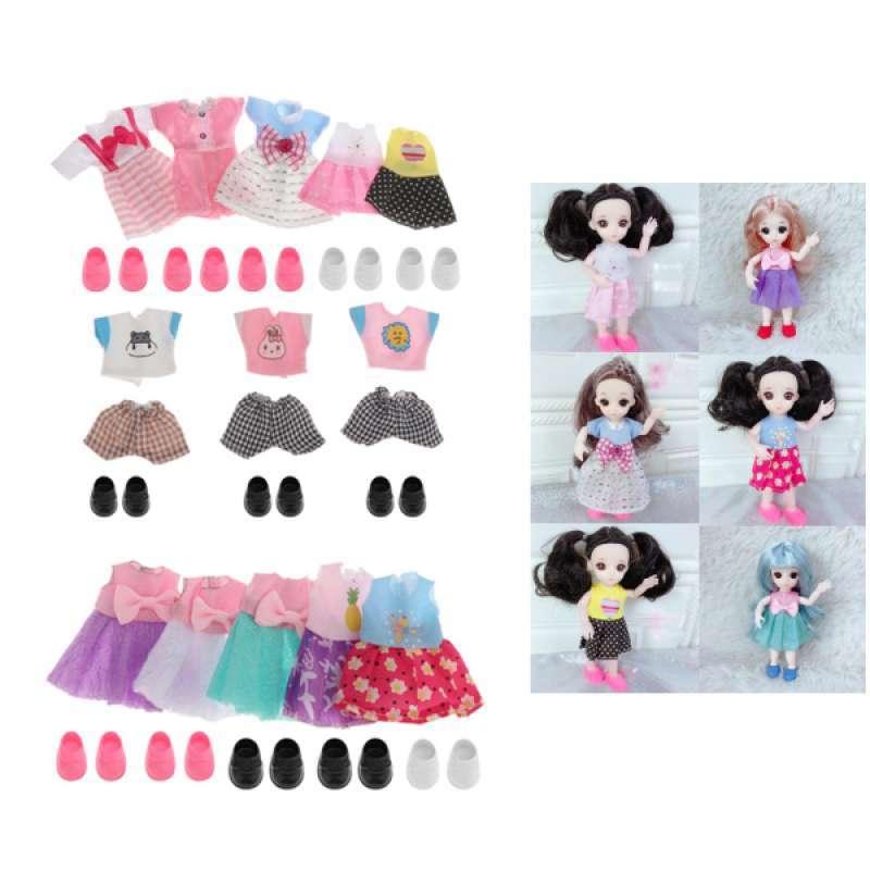 6 Set 16cm Adorable Girl Doll Mini Clothes Shoes Set Doll Party DIY Accessory