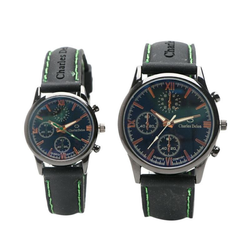 Charles Delon 1101 Jam tangan Couple - Black Green