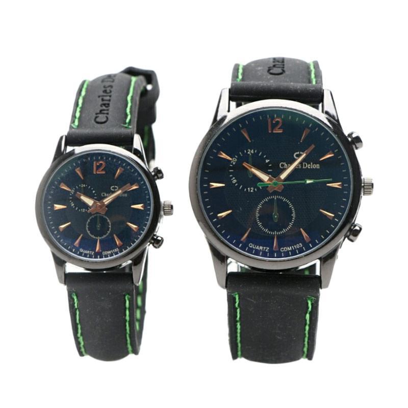 Charles Delon 1103 Jam tangan Couple - Black Green
