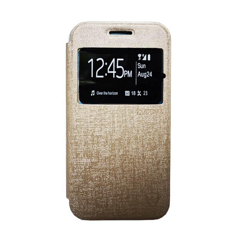 Zagbox Flip Cover Casing for Infinix Hot 3 - Gold