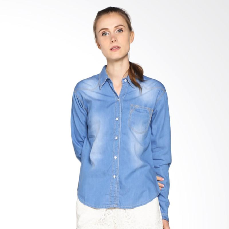 harga Dline K 58 Single Poket Kemeja Wanita - Blue Blibli.com