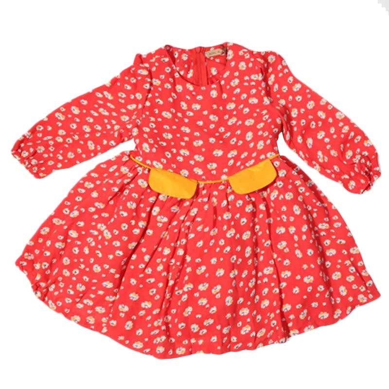 Adel & Audrey Flower 114 Dress Anak - Red