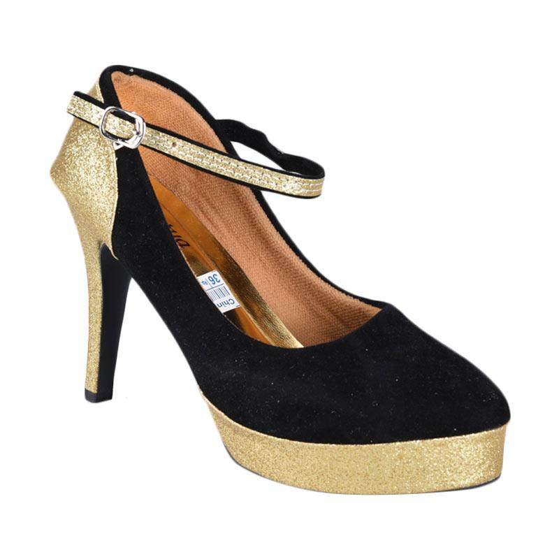 RSM Sepatu High Heels Wanita - Hitam Gold