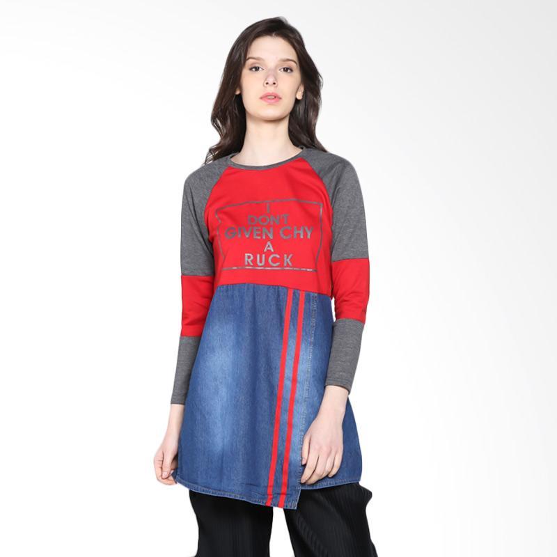 Carte Long Sleeve Faux Skirt Atasan Wanita - Red Grey