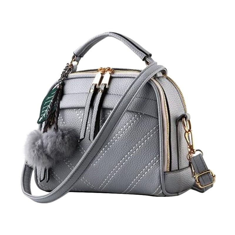 Annies Fashion De Fourrure Tas Wanita - Grey