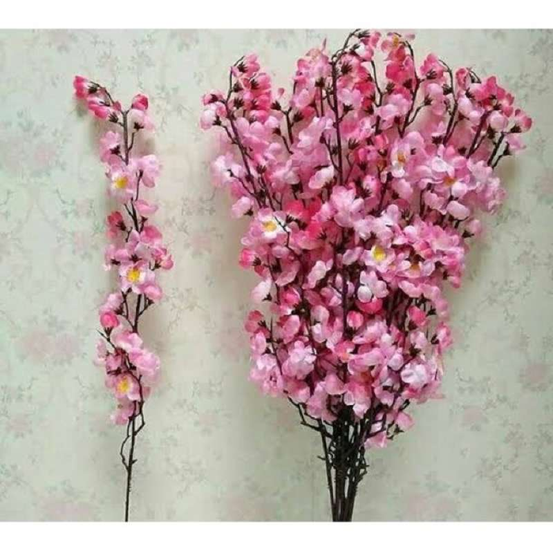 5 PCS Bunga Artificial Sakura Mei Hua Pink Hiasan Parcel Imlek Per Tangkai