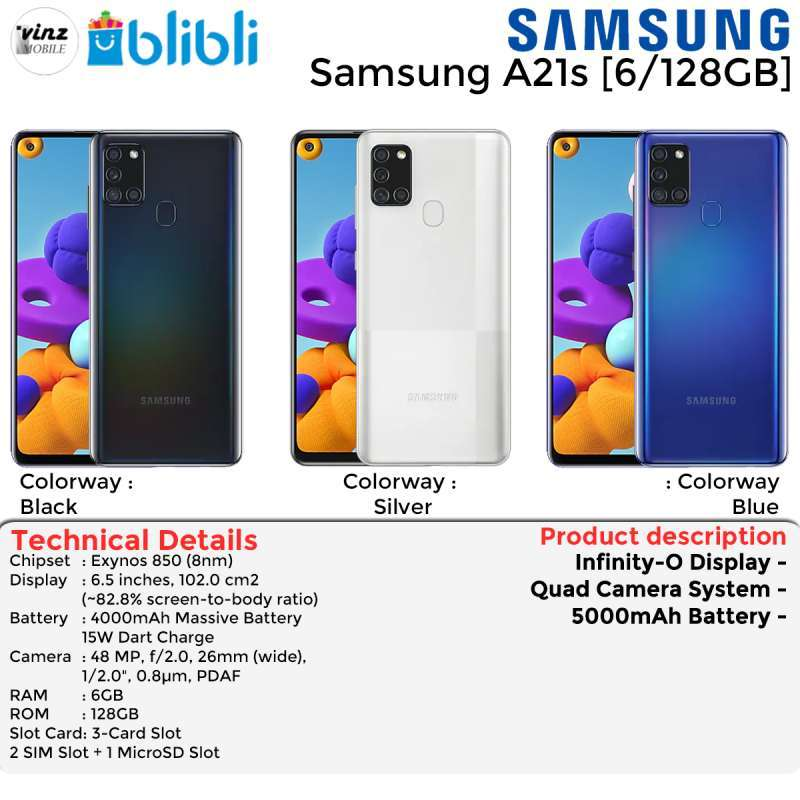 Jual Samsung Galaxy A21s 6 128 Gb Garansi Resmi Online April 2021 Blibli