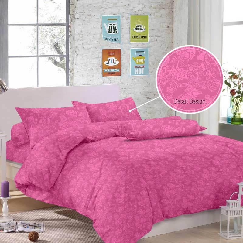 Royals Jacquard Emboss Set Sprei - Pink Tua [30 cm]