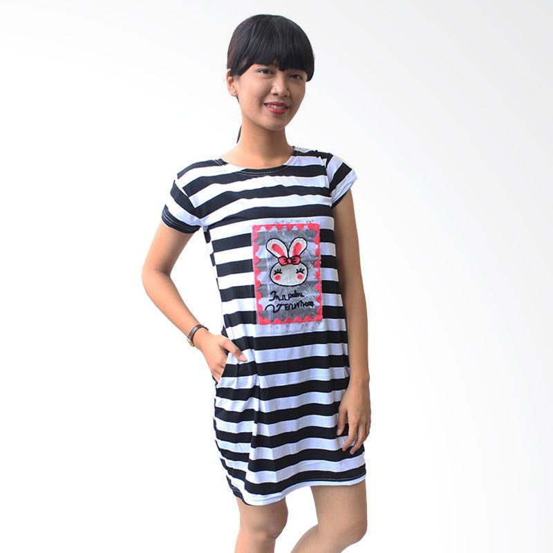 Aily 56111 Babydoll Stripe Chic Daster Wanita - Putih