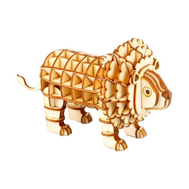 Robotime DIY Lion TG205 3D Laser Wooden Puzzle - Brown