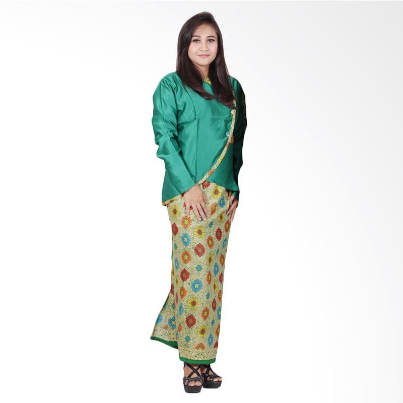 Batik Putri Ayu Solo Dress Batik Setelan D90 Semi Sutra Hijau