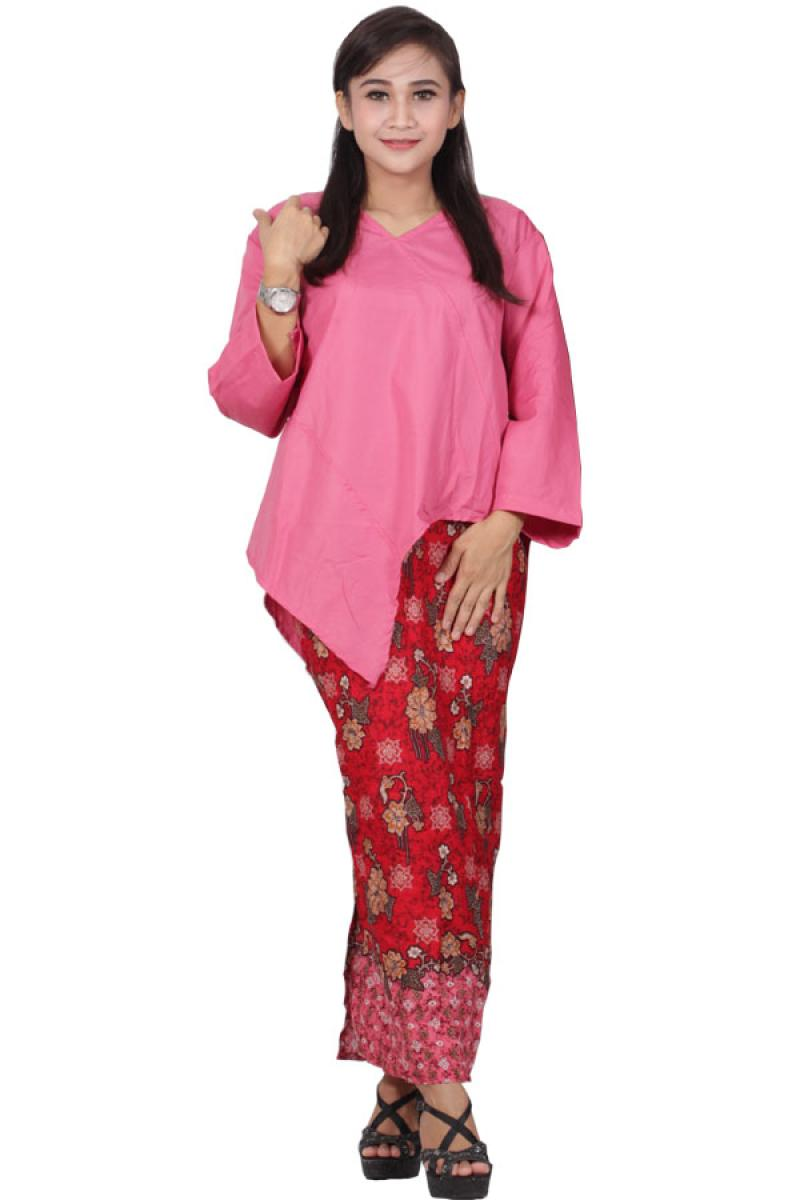 Batik Putri Ayu Solo D91 Dress Setelan Atas Bawah Katun Batik - Pink
