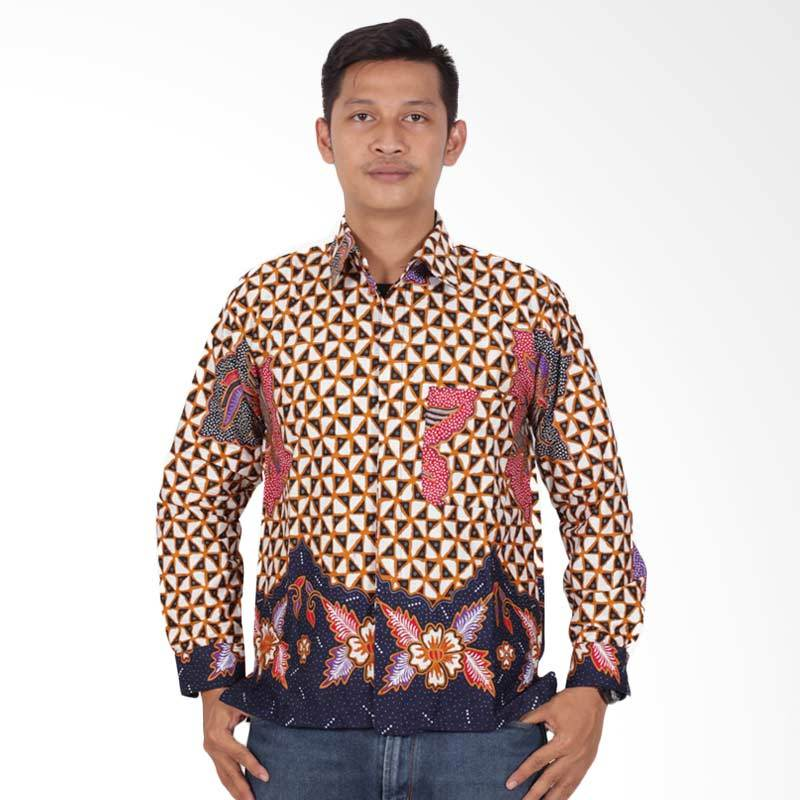 Batik Putri Ayu Solo Lengan Panjang Kemeja Batik Pria - Merah KPJ203