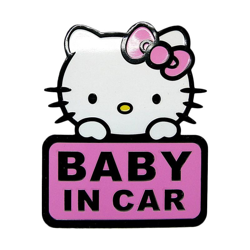 SIV EMB-KT1801 Baby In Car Motif Hello kitty Emblem Universal - Pink