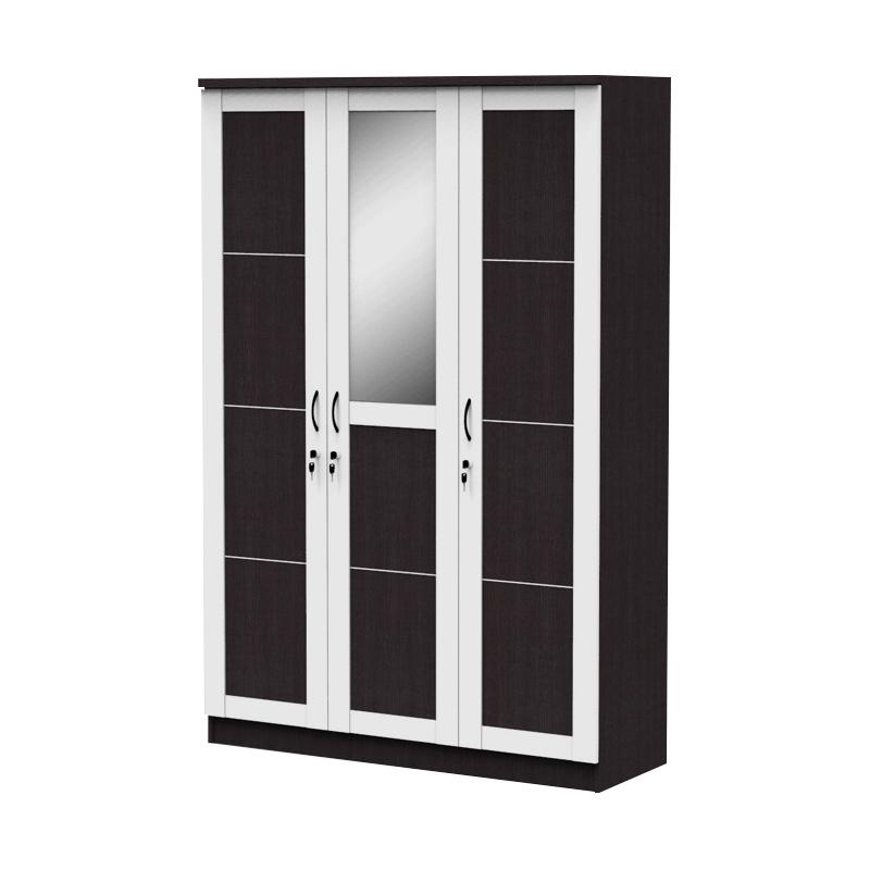 Best Furniture Simply Lemari Pakaian 3 Pintu - Putih Hitam [120 x 180]