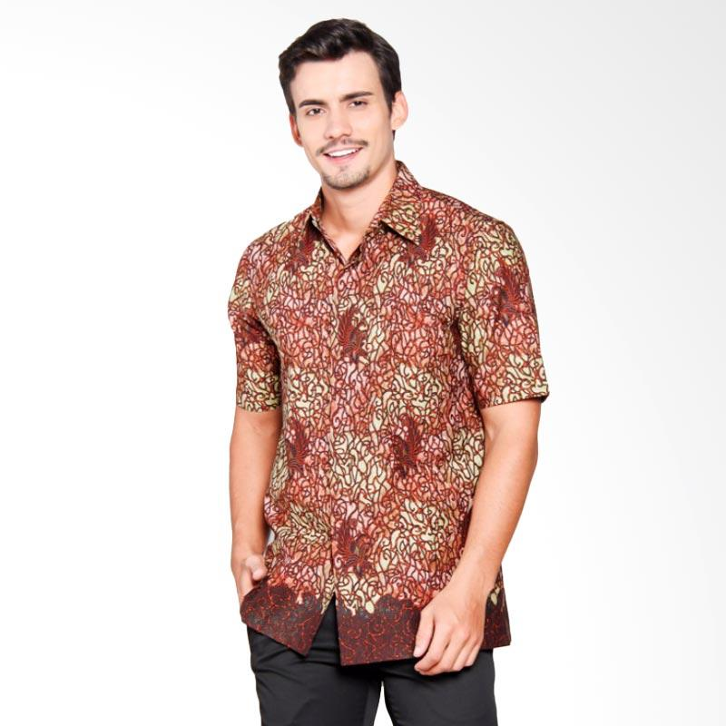 Batik Heritage Katun Mega Mendung Ethnic Slim Fit Kemeja Pria - Merah