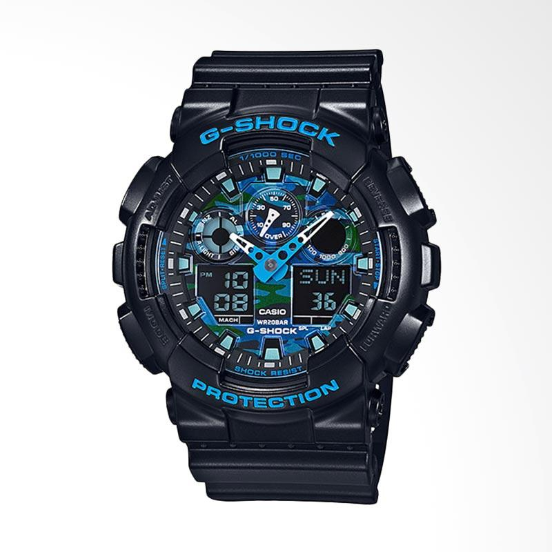 CASIO G-Shock Jam Tangan Pria - Black Blue GA-100CB-1ADR