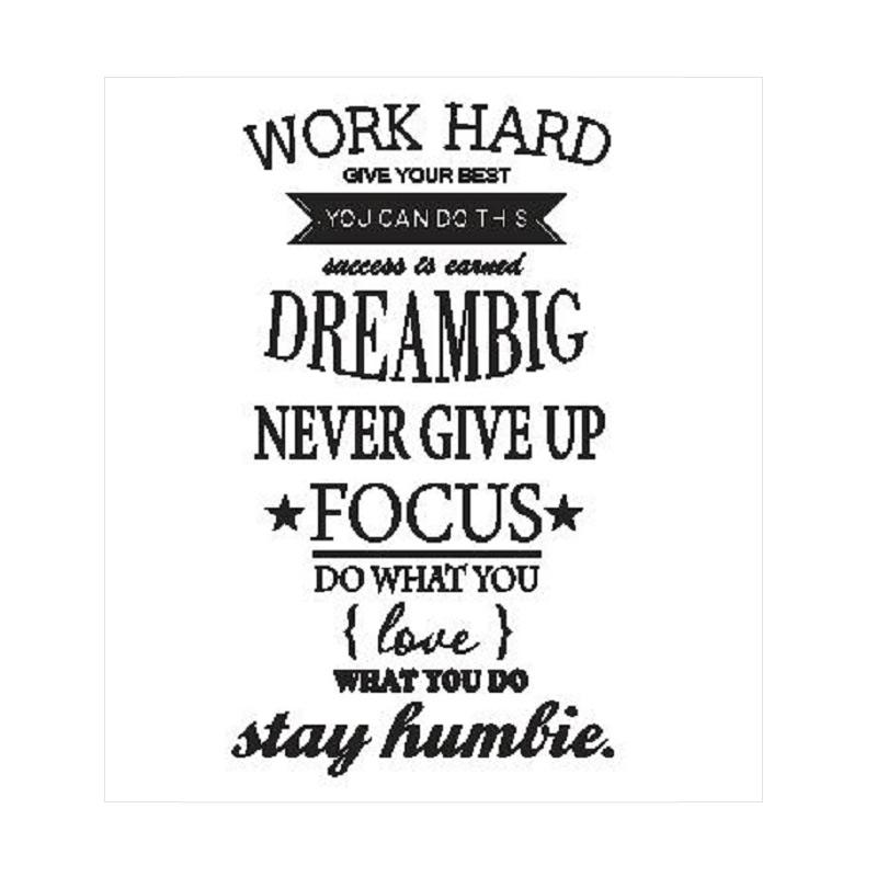 OEM Quotes Work Hard Dream Big Wall Sticker Dekorasi Dinding