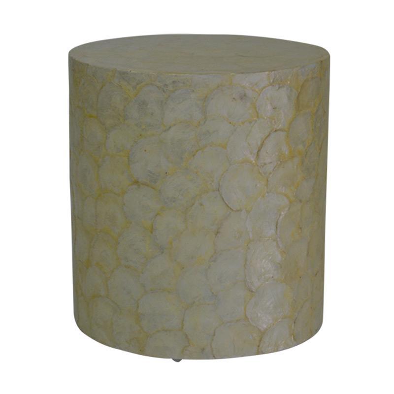 De Erniest Juliette Round End Table Meja Sofa Sudut - Broken White