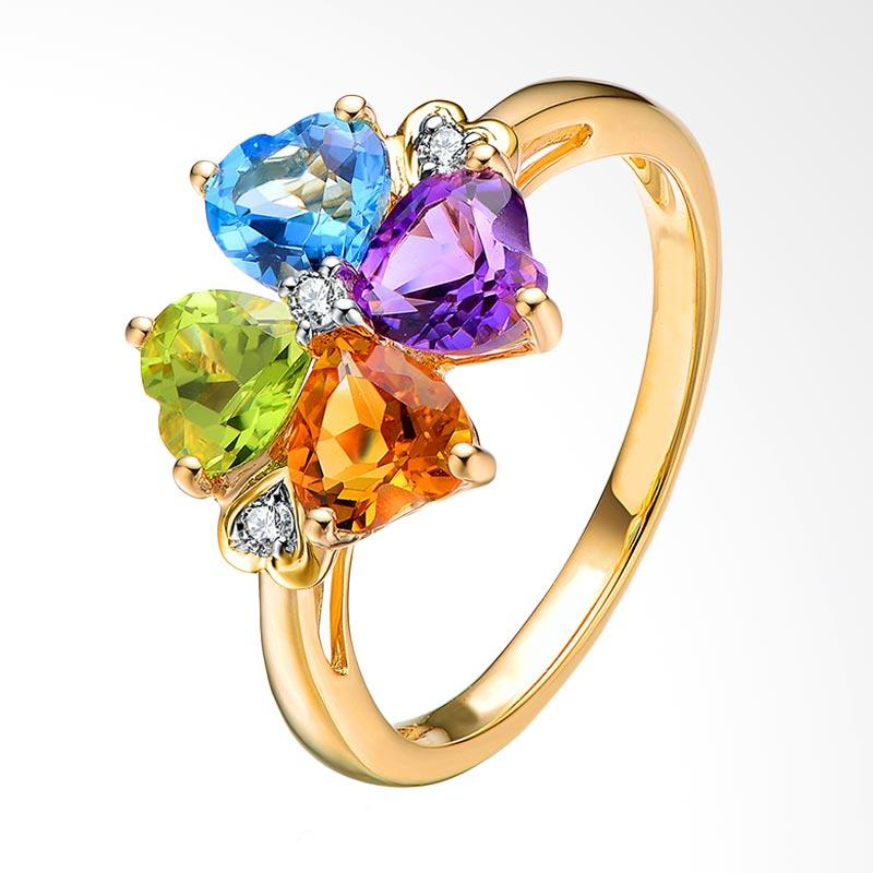 Tiaria Gracious Clover Leaf Yellow Gold Perhiasan Emas Cincin [18K]