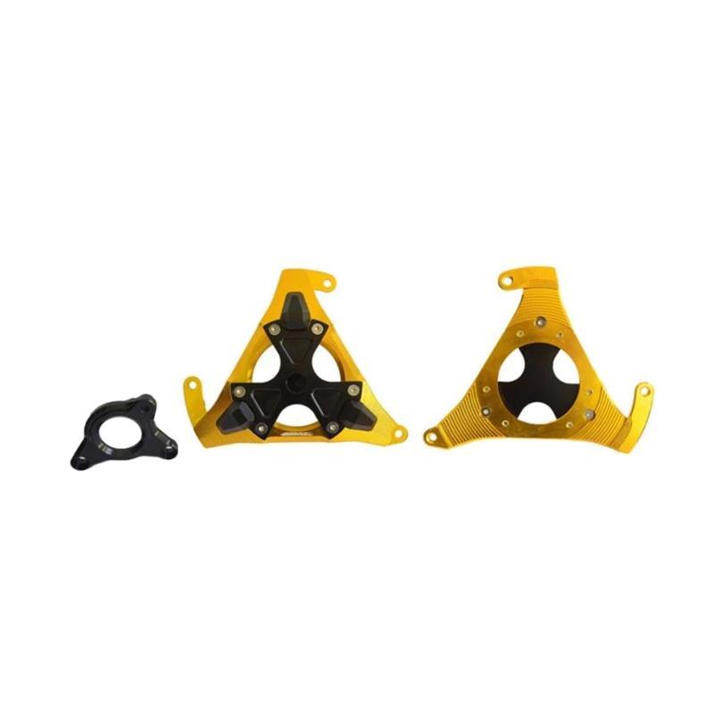 Raja Motor Set Cover Mesin Motor Kanan dan Kiri for Yamaha Xabre/Vixion/R15 - Gold [TUM3083]