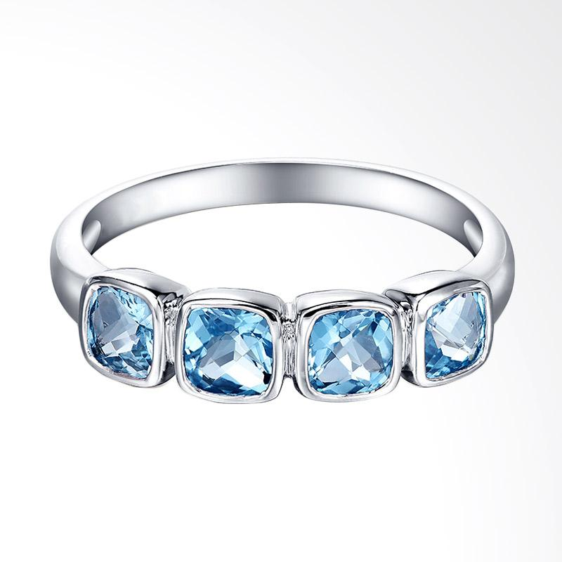 Tiaria 9K Queen Blue Topaz White Gold Perhiasan Emas Cincin
