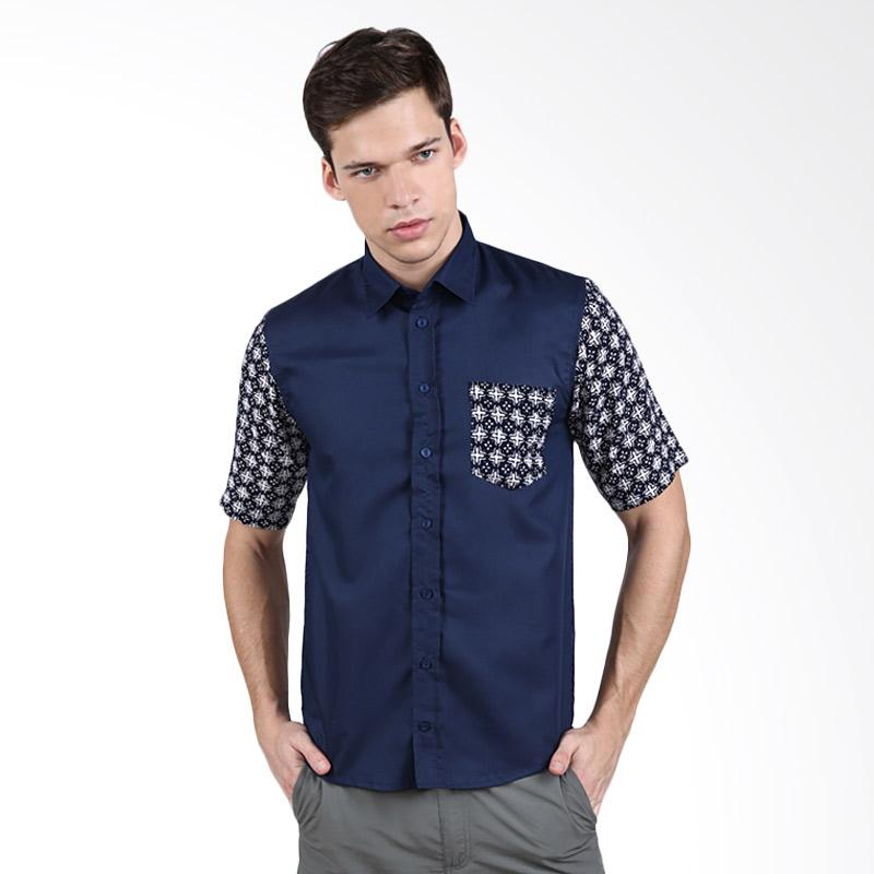 Enzy Batik Cap Short Sleeve Shirt - Navy