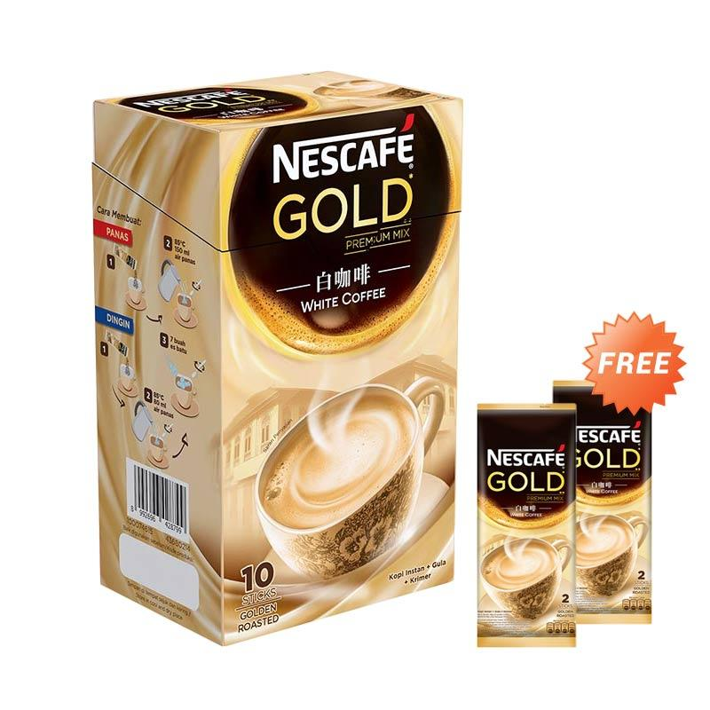 harga Nescafe Gold White Coffee SIB [24 g/10 Sachets] N1 ID + Free Nescafe Gold Premium Mix Bag [2 x 24 g] Blibli.com