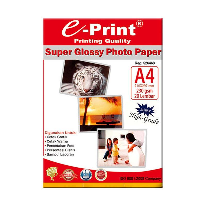 E-Print Glossy A4 Photo Paper [Alumunium Pack] Bundling 4Pcs - Putih [80 Sheet/230 Gsm]