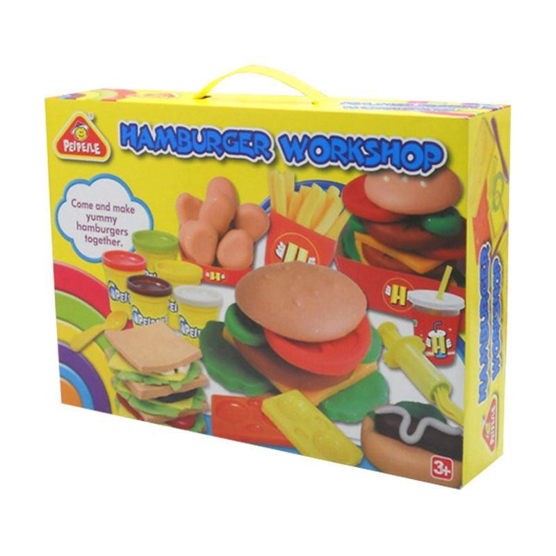 PEIPEILE Play Dough Hamburger Workshop Mainan Lilin Anak
