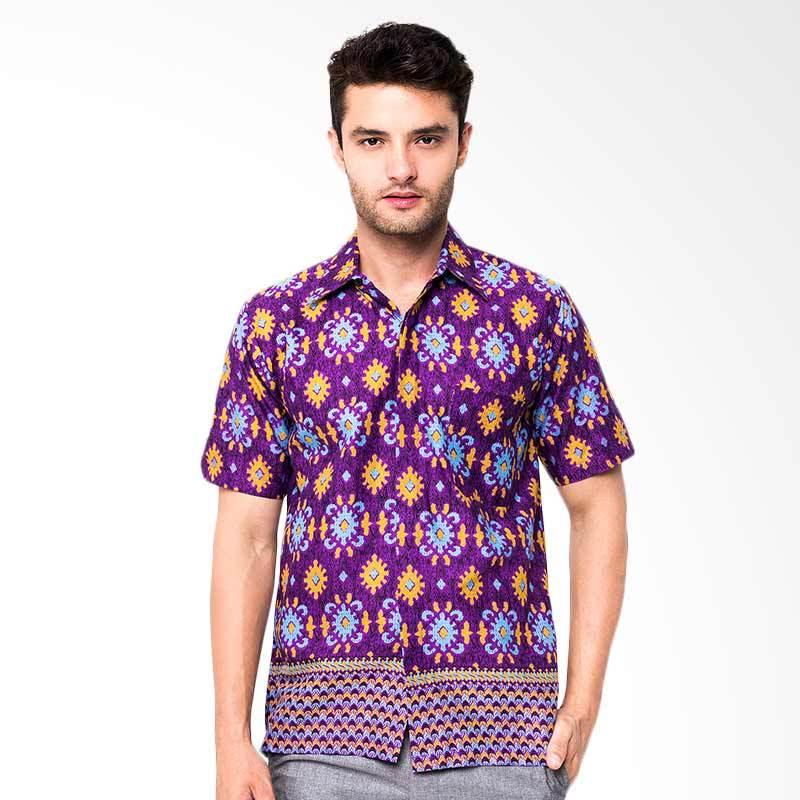 Jening Batik Short Sleeve Batik Pria - Purple HR-030