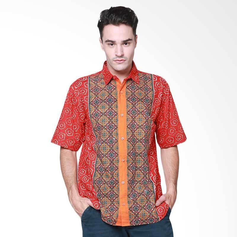Days by Danarhadi Men Jumput Segi Shirt Hem Batik Pria - Orange Red