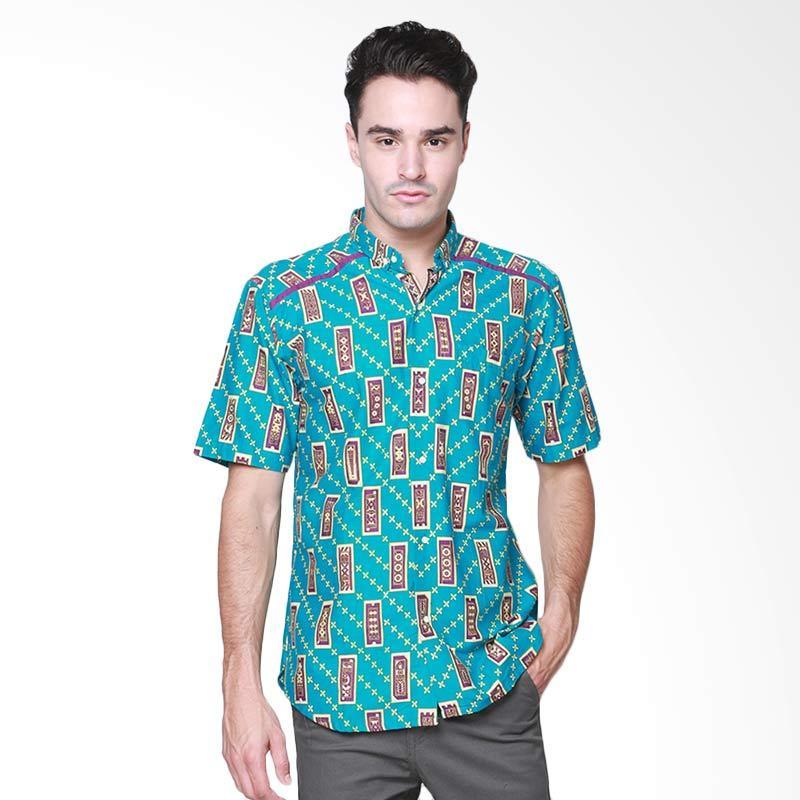 Days by Danarhadi Men Kerton Sinebar High Neck Baju Batik Pria - Turqoise