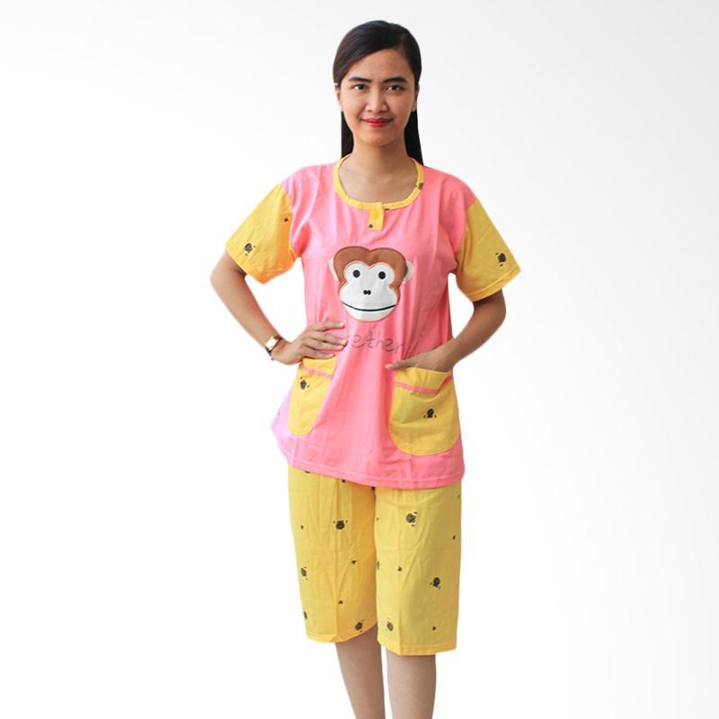 Aily Monkey 513 Setelan Baju Tidur Wanita Chic - Pink