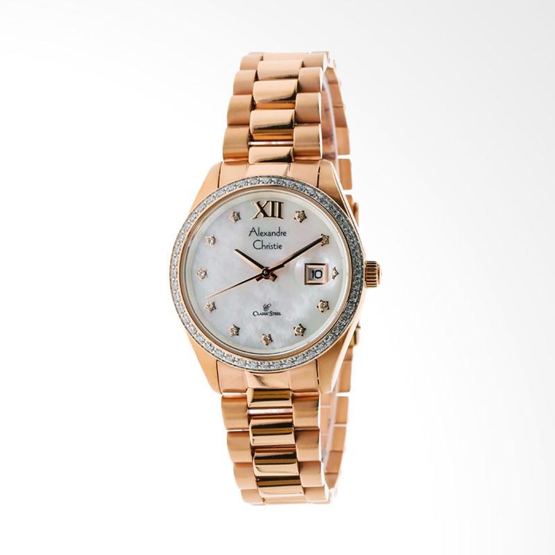 Alexandre Christie ACF-5005-LDBRGMS Mother of Pearl Dial Stainless Steel Jam Tangan Wanita - Gold