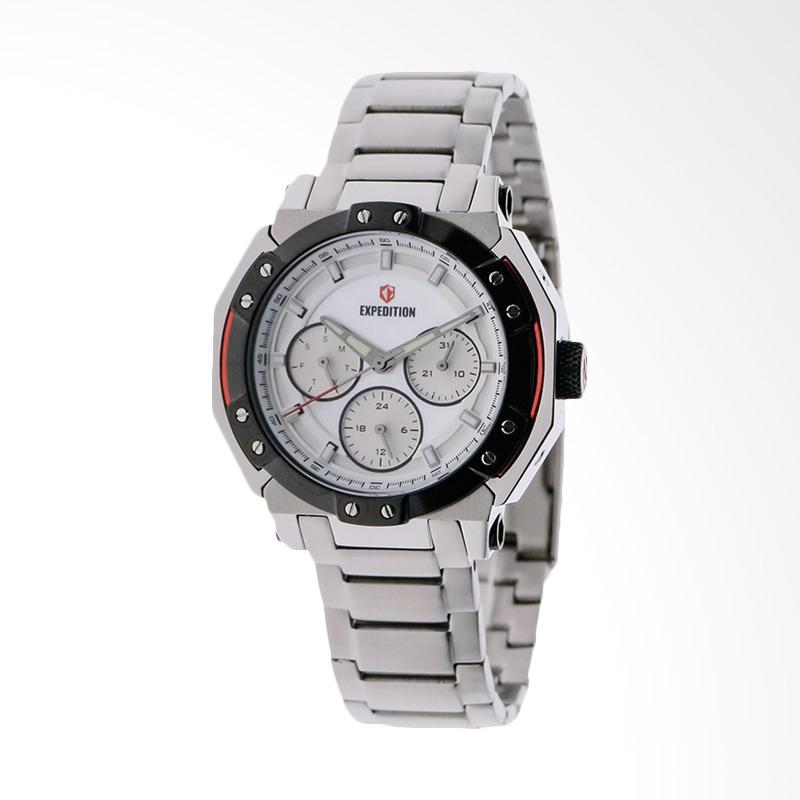 Expedition EXF-6385-BFBTBSL White Dial Stainless Steel Jam Tangan Unisex - White