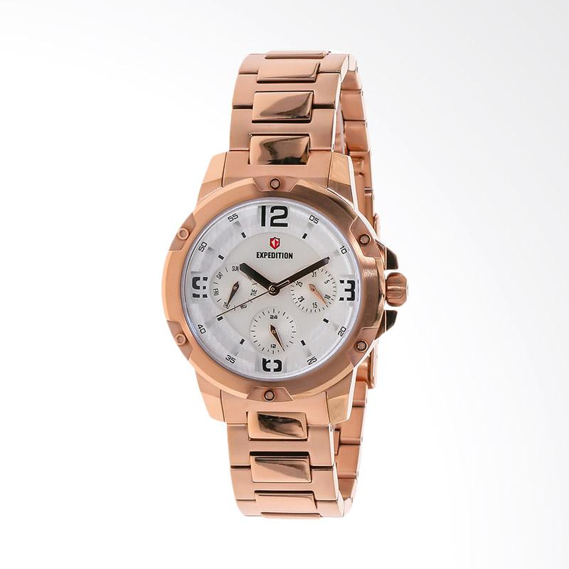Expedition EXF-6698-BFBRGSL White Dial Stainless Steel Jam Tangan Unisex - Rose Gold