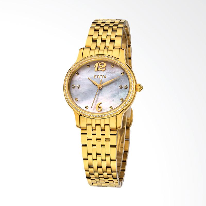 FIYTA Allure Series Quartz Sapphire Crystal Mother of Pearl Dial DL0040.GWGD Jam Tangan Wanita