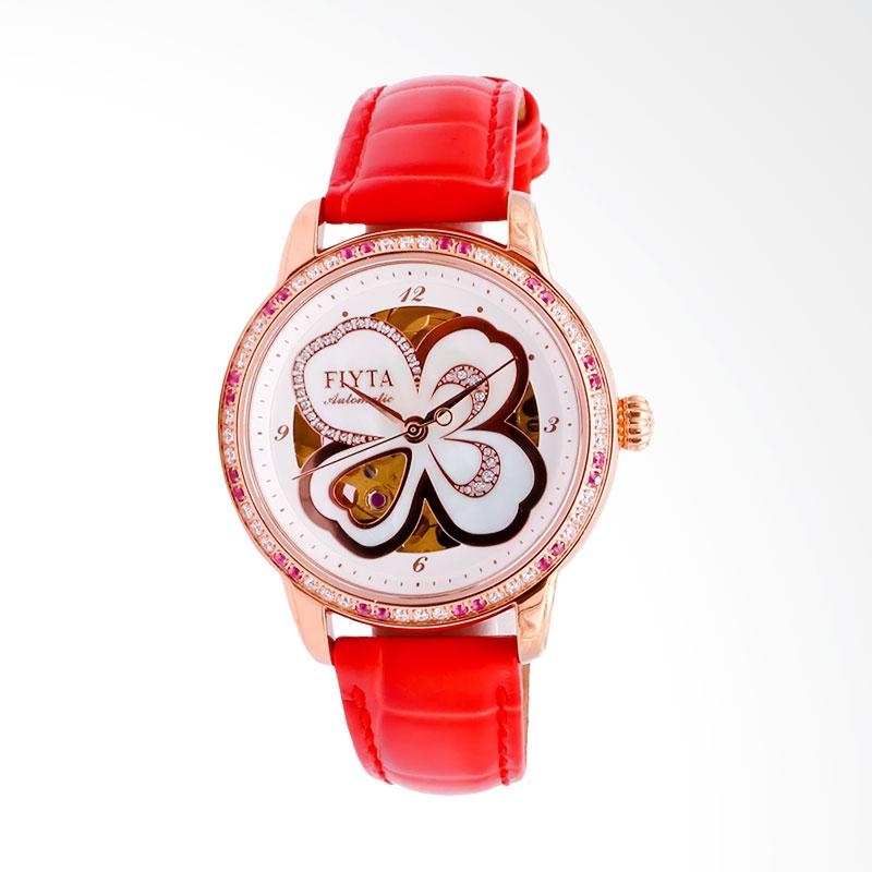 FIYTA LA8262.GWSS Photographer Clover Automatic Leather Strap Jam Tangan Wanita - Red