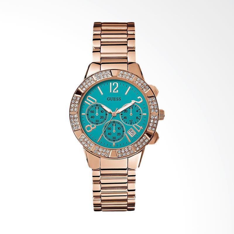 GUESS U0141L6 Glamorous Sparkling Chronograph Stainless Steel Women Watch Jam Tangan Wanita - Blue Rose Gold