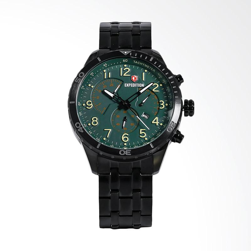 Expedition Man Chronograph Green Dial Black Stainless Steel Jam Tangan Pria - Black EXF-6720-MCBIPGN