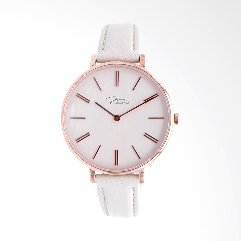 Jonas Verus X01855-Q3.PPWLW Minimalist Leather Strap Ladies Quartz Watch Jam Tangan Wanita - White