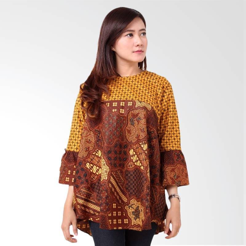 harga Batik Distro BA8634 Blus Wanita Atasan Kawung - Coklat Blibli.com